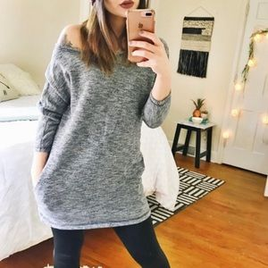 Aerie Marled Grey Sweater Tunic Top